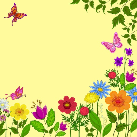 flowers, butterflies and leaves on a yellow background Vector