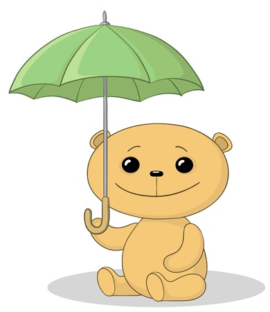 panda cub: sentado bajo el paraguas de oso de peluche de juguete
