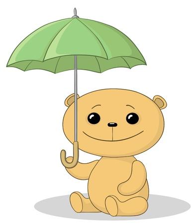 one panda: toy teddy bear sitting  under the umbrella Illustration