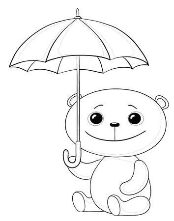 panda cub:  osito de juguete sentado bajo el paraguas, contornos