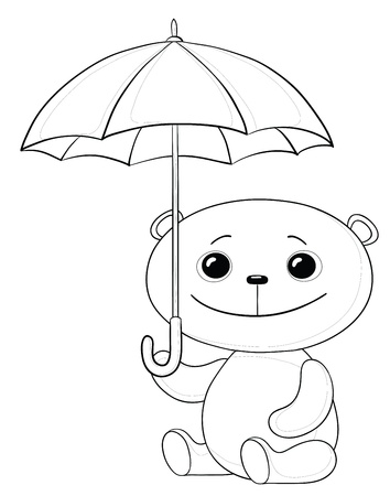 toy teddy bear sitting  under the umbrella, contours Vector