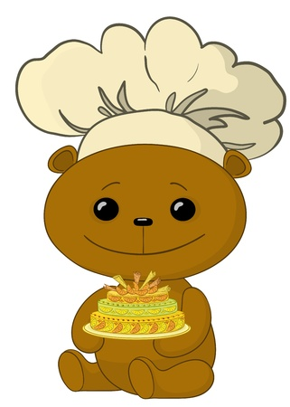 toy teddy bear cook with beautiful sweet holiday cake Vector