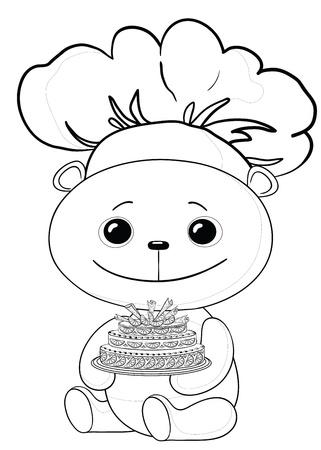 panda cub: osito de juguete cocinar con pastel de dulces vacaciones, contornos