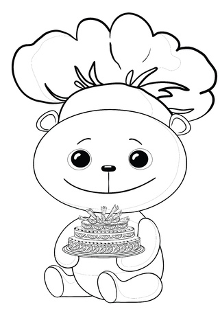 toy teddy bear cook with sweet holiday cake, contours Vector