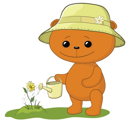 teddy bear gardener waters a bed with a flower from a watering can