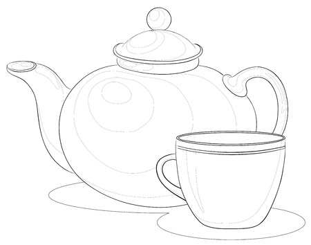pottery: china teapot and cup, monochrome contours on white background