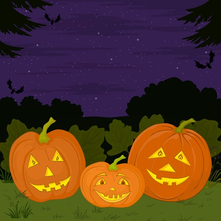 terribly: symbol of a holiday of Halloween: a pumpkins Jack O Lantern family Illustration