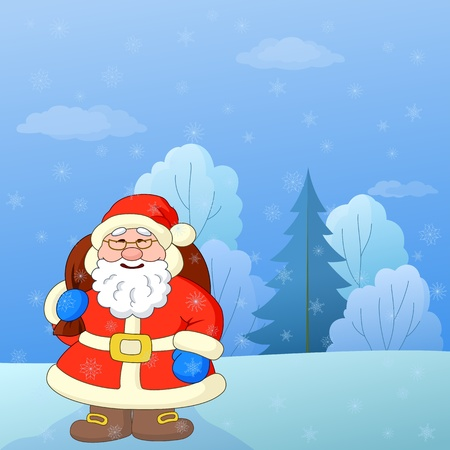 Christmas cartoon: Santa Claus with a bag of gifts on a snowy winter forest glade Illustration