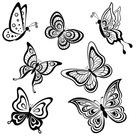 butterfly background: set symbolical butterflies, hand-draw monochrome contours on a white background
