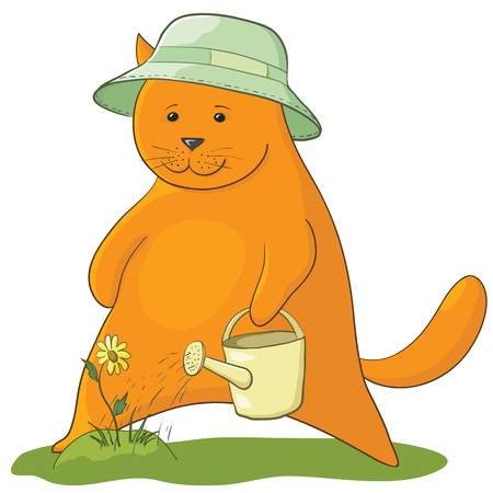 cat gardener watering a flower from a watering can Vector