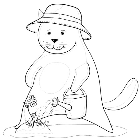 cat gardener watering a flower from a watering can, contours Vector