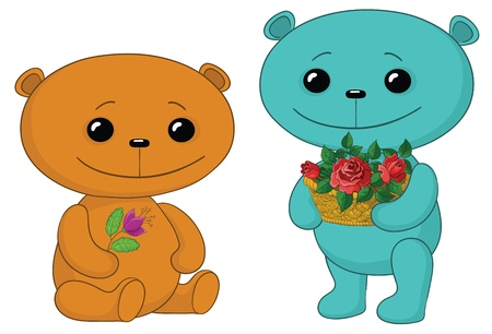 two toy teddy bears friends with flowers Vector