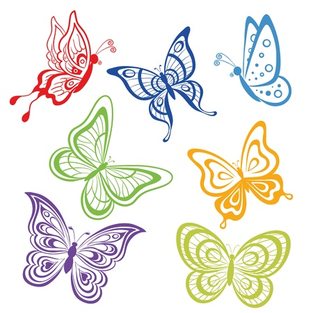 butterfly background: set various symbolical butterflies, coloured contours on a white background