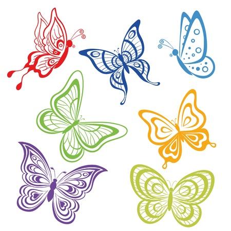tekening vlinder: verschillende symbolische vlinders, gekleurde contouren op een witte achtergrond instellen