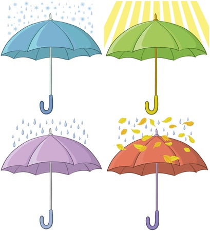 four objects: set of various umbrellas and weather conditions: sun, rain, snow, autumn leaves