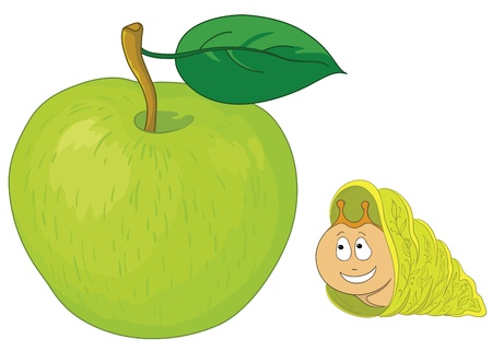 apple snail: Vector cartoon, cheerful snail and delicious green apple with a leaf Illustration
