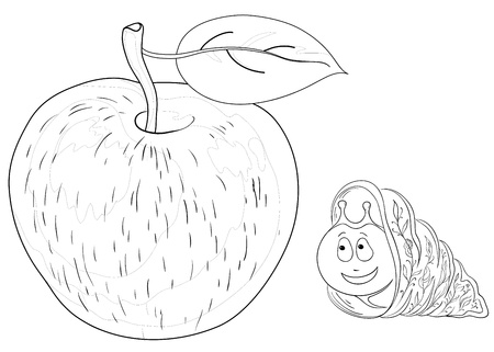 apple snail: Vector cartoon, cheerful snail and delicious apple with a leaf, contours