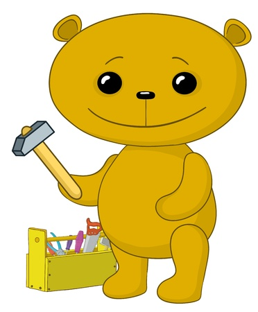 toy chest: cartoon, toy teddy bear worker with hammer and toolbox