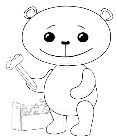 toy chest: cartoon, toy teddy bear worker with hammer and toolbox, contours