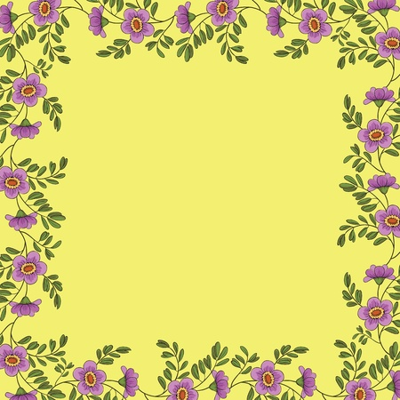 floral background, frame of lilac flowers and green leafs on yellow Vector