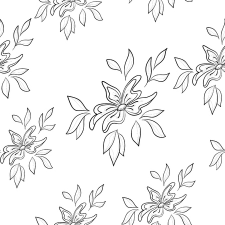 seamless floral background, symbolical flowers and leafs, contours Stock Vector - 10501929