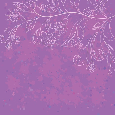 Vector abstract floral background with lilac stain and white contours flowers Vector
