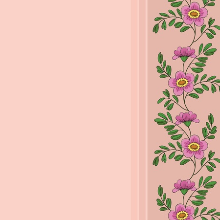 Vector floral background, frame of pink flowers and green leafs