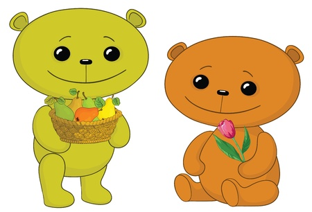 Vector, two toy teddy bears friends with fruits and flower Vector