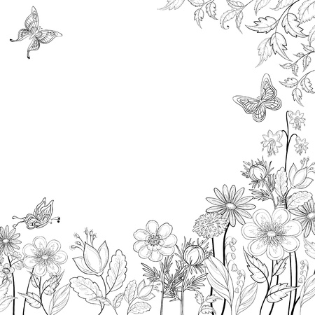 Vector, abstract background with a symbolical flowers and butterflies, monochrome contours Illusztráció