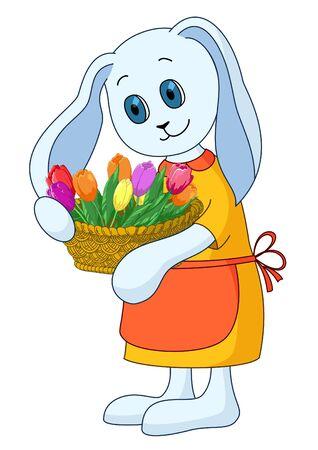 Vector cartoon, rabbit girl with basket of flowers Stock Vector - 10543885