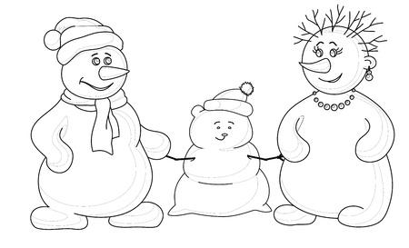 Vector cartoon, snowmens man and a woman make a snow baby, contours Stock Vector - 10543882