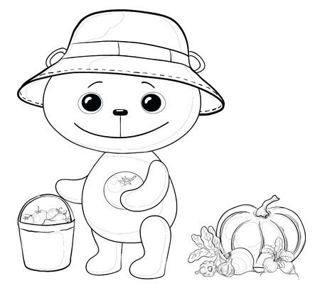 Vector, teddy bear gardener with a crop of vegetables, contours Vector