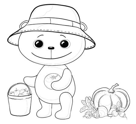 panda cub: Vector, teddy bear gardener with a crop of vegetables, contours