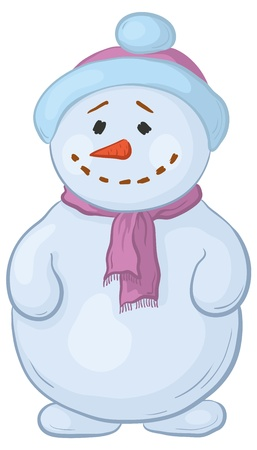 cartoon, snowmen boy in a cap and scarf Vector