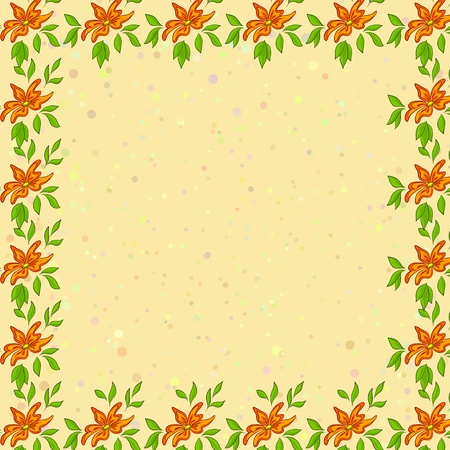 floral background, frame of orange flowers, green leafs and confetti on yellow Stock Vector - 10559928