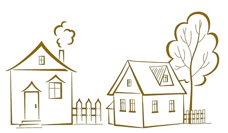 rural houses: cartoon, landscape: two houses with a tree, monochrome symbolical pictogram Illustration