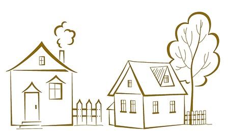 datcha: dessin anim�, paysage: deux maisons avec un arbre, monochrome pictogramme symboliques