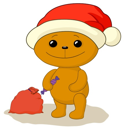 teddy bear Santa Claus with sweet and red gift bag Vector