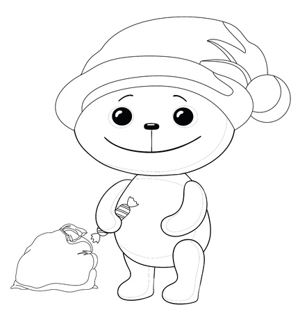 teddy bear Santa Claus with sweet and gift bag, contours Stock Vector - 10559897