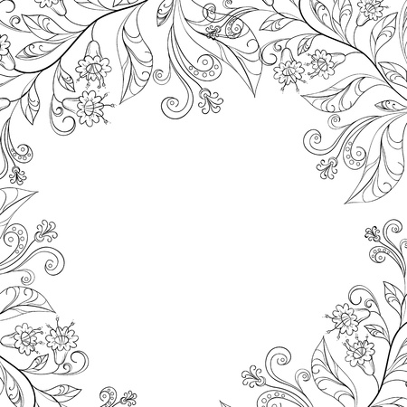 floral background, frame of flowers and leafs, contours Vector