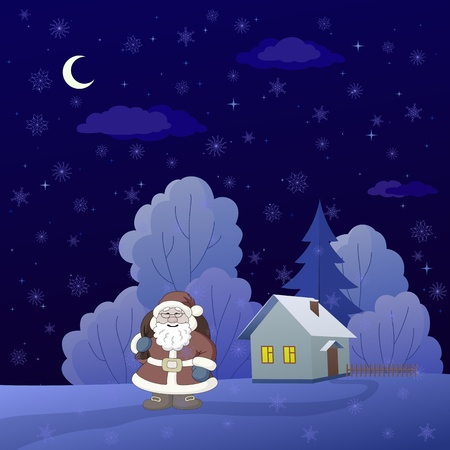 Christmas cartoon: Santa Claus on a snowy winter forest glade with house Vector