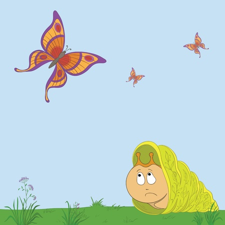 bucolical: cartoon, sad snail looks at butterflies and dreams of flying Illustration