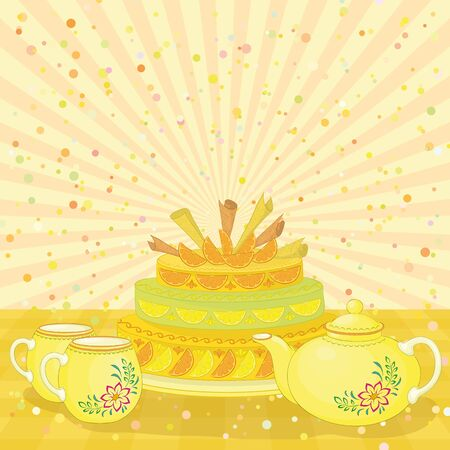 torte: Holiday cake, teapot and cups on the background with the rays and confetti