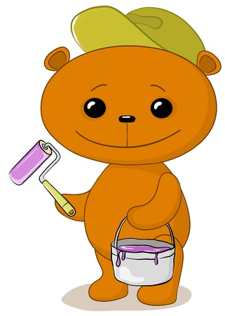 Cartoon, toy teddy bear worker house painter with a tool and a bucket of paint Vector