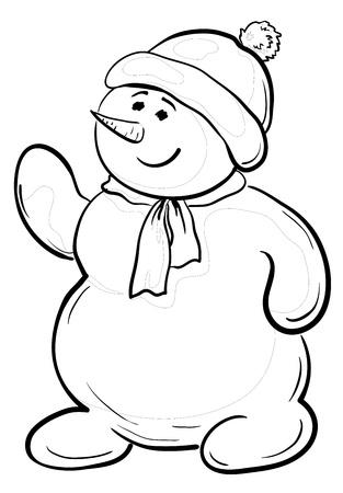 Cartoon, snowmen boy in a cap and scarf, contours Vector