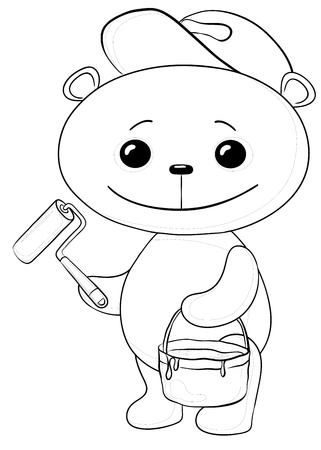 Cartoon, toy teddy bear worker house painter with a tool and a bucket of paint, contours Vector