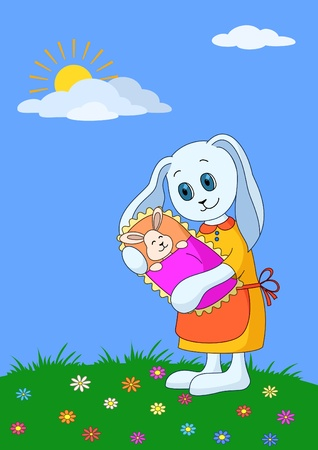 sun flowers: Vector cartoon, rabbit mother with baby in the meadow