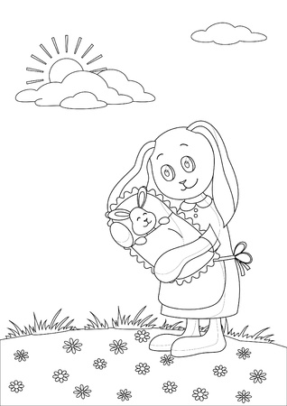 Vector cartoon, rabbit mother with baby in the meadow, contours Vector