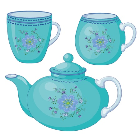 blue white kitchen: Vector, blue china teapot and cups with a pattern of flowers and leaves