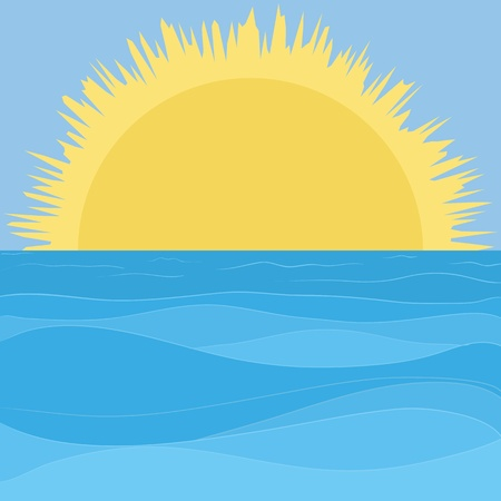 sunrise ocean: Vector landscape: blue sea and sky and yellow sun